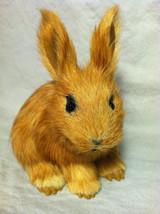 Brown Bunny Rabbit Animal Figurine - recycled rabbit fur image 2