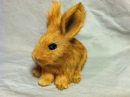 Brown Bunny Rabbit Animal Figurine - recycled rabbit fur image 8