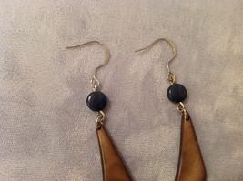 "Brown Beige Tan Dangle Earrings w Blue bead, 2"" long  Tagua fair trade encanto image 3"