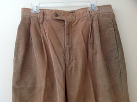 Brown Corduroy Pleated Dockers Dress Pants Cuffed Pant Legs Size 34 by 31 image 2