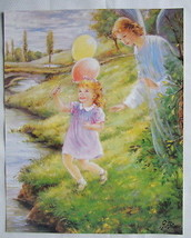 """Catholic Print Picture GUARDIAN ANGEL with GIRL Religious Christian 11x14"""" - $17.75"""