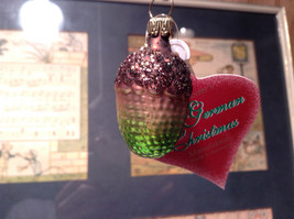 Brown Green Acorn Hand Blown Glass Ornament Holiday Tree Old German Christmas image 2