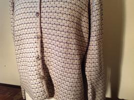 Brown Green Tan Beige Reba Rose Button Down Long Sleeve Sweater Size Medium image 5