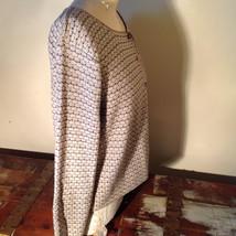 Brown Green Tan Beige Reba Rose Button Down Long Sleeve Sweater Size Medium image 6