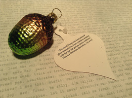 Brown Green Acorn Hand Blown Glass Ornament Holiday Tree Old German Christmas image 5