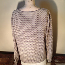 Brown Green Tan Beige Reba Rose Button Down Long Sleeve Sweater Size Medium image 7