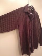 Brown Navy Plaid Button Up Long Sleeve Shirt Bill Blass Size Large image 4