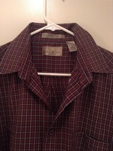 Brown Navy Plaid Button Up Long Sleeve Shirt Bill Blass Size Large image 2