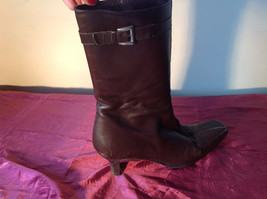 Brown Leather Boots Square Toe Curved Heel Zipper Inner Side Size 10N made Spain image 7