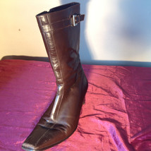 Brown Leather Boots Square Toe Curved Heel Zipper Inner Side Size 10N made Spain image 11