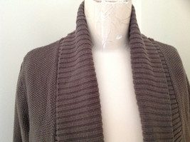 Brown Open Front Knit Collared Sweater by Elle Made in China Size Medium image 3