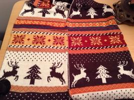 Brown Orange Dark Red White Striped Deer Reindeer Tree Knit Scarf w Pom Poms image 5
