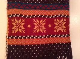 Brown Orange Dark Red White Striped Deer Reindeer Tree Knit Scarf w Pom Poms image 3