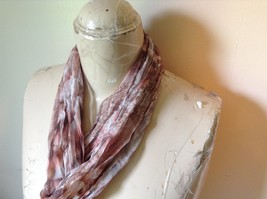 Brown Pink and White Sheer Stretchy Material Scarf 10 Inches by 70 Inches image 3