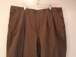 Brown Pleated Front Pants Elastic Inserts on Waist for Adjusting No Size Tag image 3