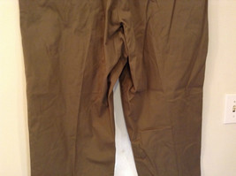 Brown Pleated Front Pants Elastic Inserts on Waist for Adjusting No Size Tag image 6