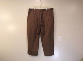 Brown Pleated Front Pants Elastic Inserts on Waist for Adjusting No Size Tag image 2