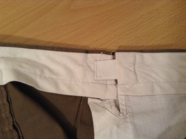 Brown Pleated Front Pants Elastic Inserts on Waist for Adjusting No Size Tag image 9