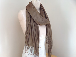Brown Scrunch Style Silk Cotton Scarf with Tassels TAG ATTACHED by Look image 2