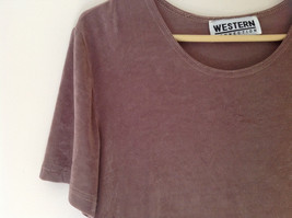 Brown Short Sleeve Shirt Western Connection Spandex Feel Shiny Material Size L image 2