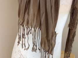 Brown Scrunch Style Silk Cotton Scarf with Tassels TAG ATTACHED by Look image 4