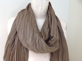 Brown Scrunch Style Silk Cotton Scarf with Tassels TAG ATTACHED by Look image 3