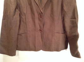Brown Size 16 Talbots 100 Percent Linen Blazer Two Button Closure Two Pockets image 3
