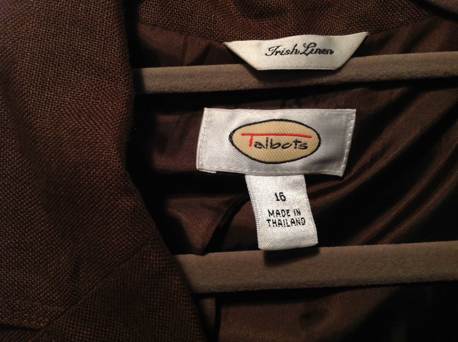 Brown Size 16 Talbots 100 Percent Linen Blazer Two Button Closure Two Pockets image 6