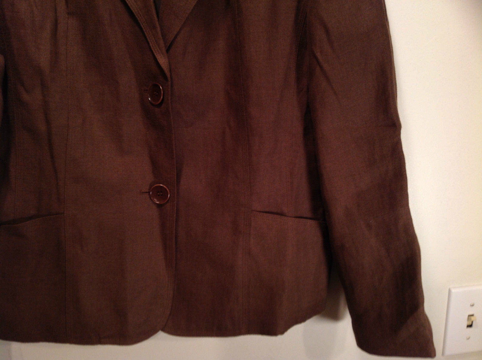 Brown Size 16 Talbots 100 Percent Linen Blazer Two Button Closure Two Pockets image 4