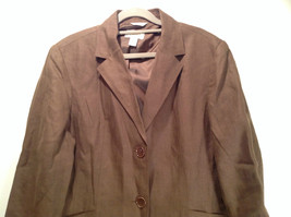 Brown Size 16 Talbots 100 Percent Linen Blazer Two Button Closure Two Pockets image 2