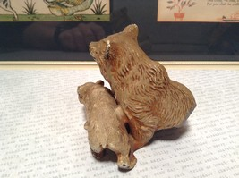 Brown Tone Metal Hollow Vintage Mother Bear with Cub Statue Figurine image 4