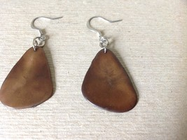 Brown with Black Outline Handmade Dyed Tagua Dangling Earrings image 2