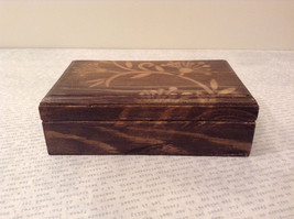 Brown Wooden Trinket Box with Flower Design Small Rectangular Shape image 2