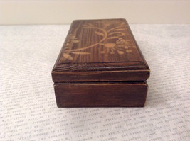 Brown Wooden Trinket Box with Flower Design Small Rectangular Shape image 5