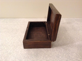 Brown Wooden Trinket Box with Flower Design Small Rectangular Shape image 7