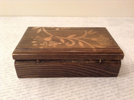 Brown Wooden Trinket Box with Flower Design Small Rectangular Shape image 3