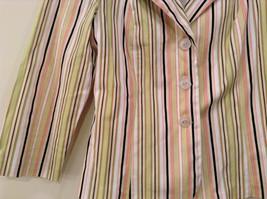 Byer wear Size M Green Light Green Black Red Beige Striped Light Blazer Jacket image 4