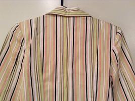 Byer wear Size M Green Light Green Black Red Beige Striped Light Blazer Jacket image 6