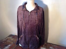 Brown Zip Up Hannah Sweatshirt  Size Medium soft fleece w matching bottoms image 2