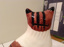 Brown and White with Black Stripes Cat Bank Eight and Half Inches Tall image 4