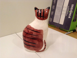 Brown and White with Black Stripes Cat Bank Eight and Half Inches Tall image 2