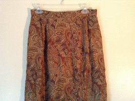 Brown and Gold Patterned Skirt by Evan Picone Pockets 100 Percent Rayon Size 12 image 2