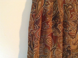 Brown and Gold Patterned Skirt by Evan Picone Pockets 100 Percent Rayon Size 12 image 5