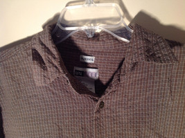 Brown Square Pattern Button Up Collar Long Sleeve Casual Shirt by United Size L image 2