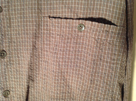 Brown Square Pattern Button Up Collar Long Sleeve Casual Shirt by United Size L image 3