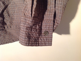 Brown Square Pattern Button Up Collar Long Sleeve Casual Shirt by United Size L image 5