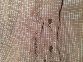 Brown Square Pattern Button Up Collar Long Sleeve Casual Shirt by United Size L image 4