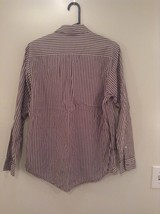 Brown and White Striped Old Navy Long Sleeve Button Up Cotton Shirt Size M image 4