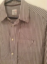 Brown and White Striped Old Navy Long Sleeve Button Up Cotton Shirt Size M image 3