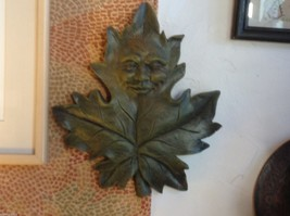 Brown  wall plaque plaster leaf with face image 3